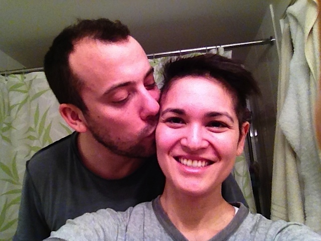 When my hair started to fall out, we just decided to shave it off. This is a pic we took mid-shave.