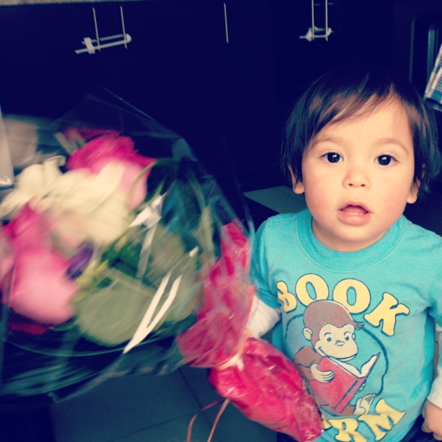 Nate with my post-chemo celebratory flowers.
