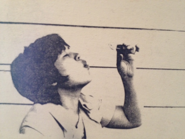 An old photo of my mother, transferred to canvas.