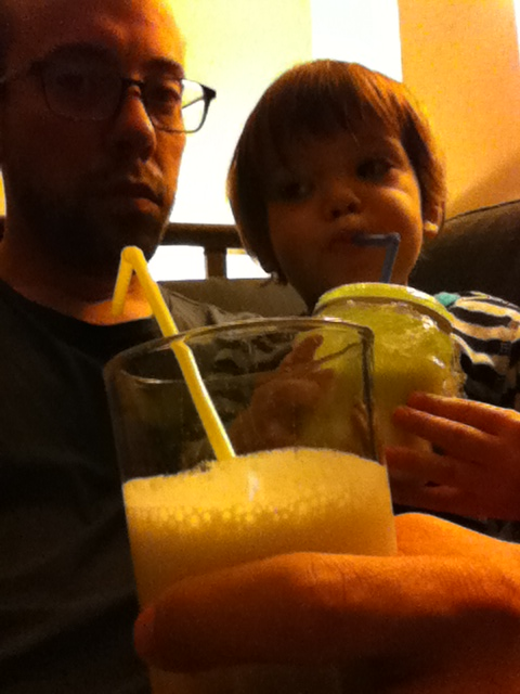Nate and Mitchell having smoothies. He brought me one too.