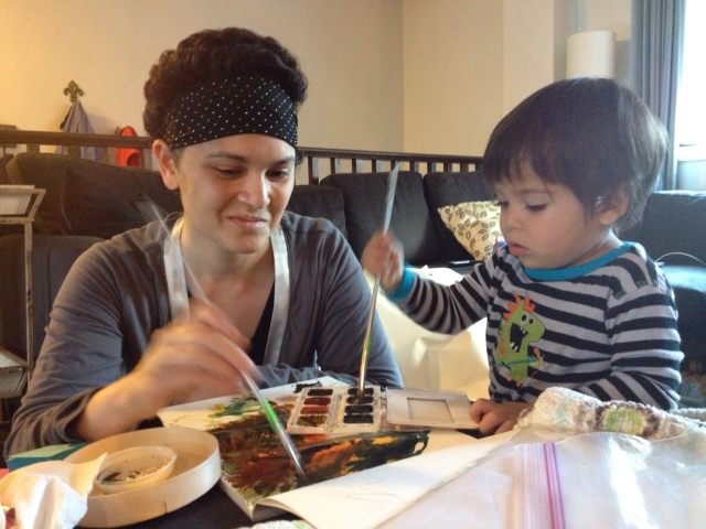 Working on an art project with Nate, and feeling punk rock in my studded bandana to cover the sutures.